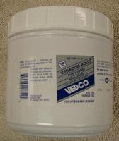 Vedadine Boluses 50 count jar - Each bolus contains 250 mg of available iodine as polyvinylpyrrolidone iodine complex in a urea base. Used to prepare a solution of iodine for flushing wounds, or for topical disinfection. Dissolve one bolus in 50 to 100 mL of water. Apply as a soak or cleanse area with solution on gauze. For use in cats, dogs and horses.
